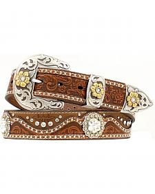 Nocona Tooled Two Tone Leather Concho Belt