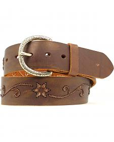Nocona Floral Scroll Embroidered Belt