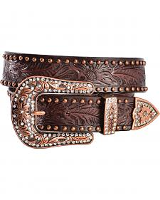 Angel Ranch Women's Dark Brown Floral Studded Belt