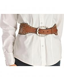 Angel Ranch Women's Studded Brown Leather & Elastic Belt