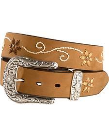 Nocona Floral Stitched Leather Belt - Plus