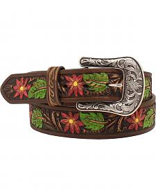 "Ariat 1 1/2"" Painted Floral Embossed Belt"