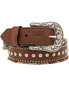 Blazin Roxx Studded Frayed Fabric Belt