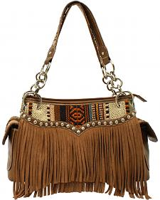 Blazin Roxx Women's Multi Fabric Fringe Satchel