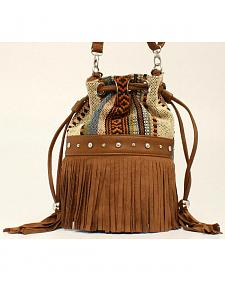 Blazin Roxx Women's Multi Fabric Fringe Bucket Bag