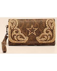 Blazin Roxx Snake Skin Star Clutch Wallet