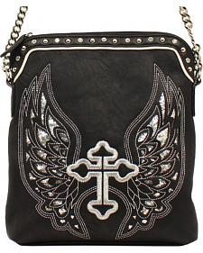 Blazin Roxx Silver Cross/Wings Messenger Bag