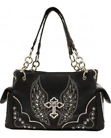 Blazin Roxx Silver Cross and Wings Satchel