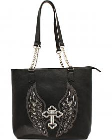 Blazin Roxx Women's Silver Cross and Wings Shoulder Bag