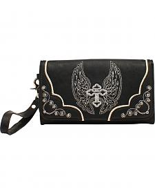 Blazin Roxx Silver Cross and Wings Clutch Wallet