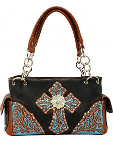 Blazin Roxx Women's Glitter Embossed Cross Satchel