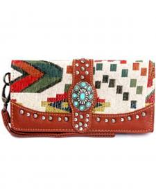 Montana West Western Aztec Collection Brown Concho Wallet