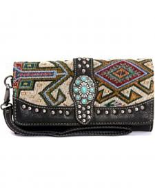 Montana West Western Aztec Collection Black Concho Wallet