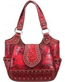 Montana West Trinity Ranch Collection Red Tooled Handbag