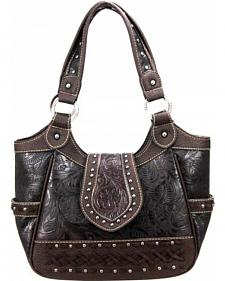 Montana West Trinity Ranch Collection Cafe Tooled Handbag