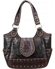 Montana West Trinity Ranch Collection Cafe Tooled Handbag