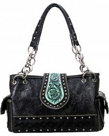Montana West Trinity Ranch Collection Black Satchel