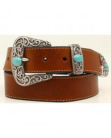 Ariat Basic Leather Belt w/3pc Turq Stone Buckle Set