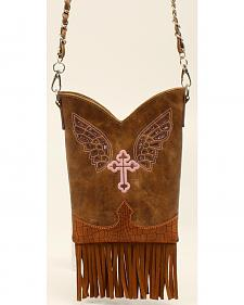 Blazin Roxx Cross & Wings Fringe Crossbody Purse