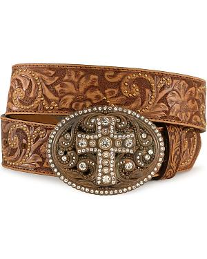 Justin Cross Buckle Tooled Leather Belt