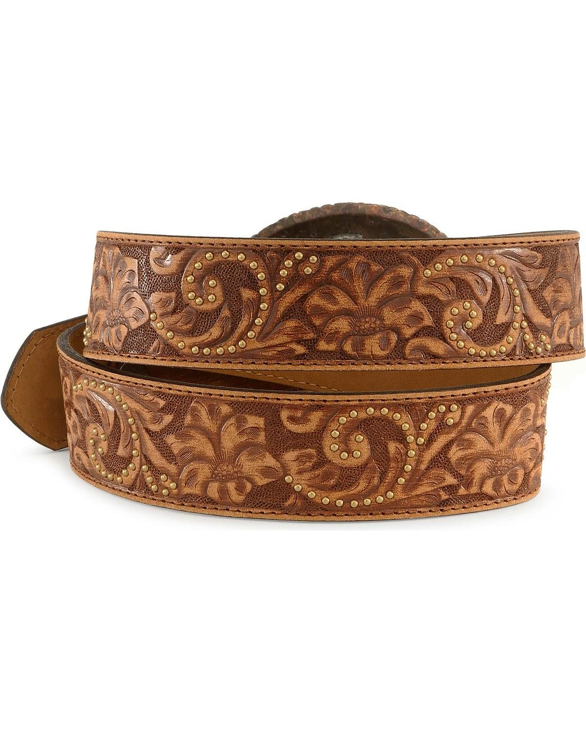 justin s cross buckle tooled leather belt c20555