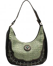 Blazin Roxx Women's Turquoise Croc Print Shoulder Bag