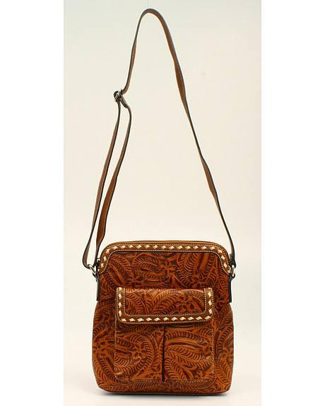 Blazin Roxx Floral Tooled Crossbody Bag