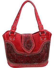 Montana West Tooled Leather Concealed Handgun Studded Handbag