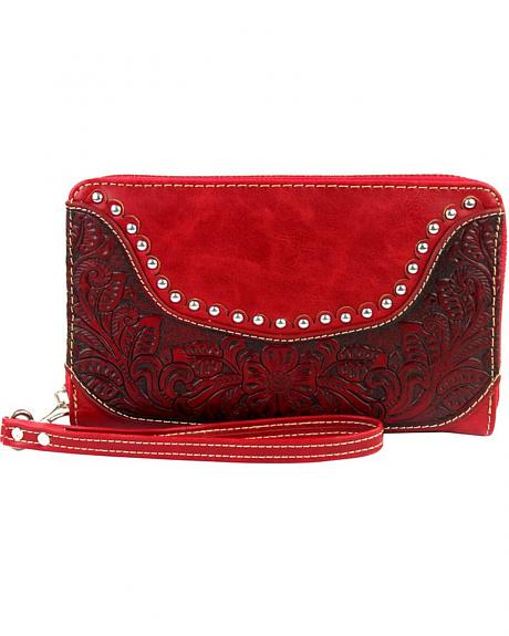 Montana West Tooled Leather Studded Wallet