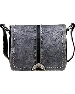 Montana West Tooled Leather Messenger Bag