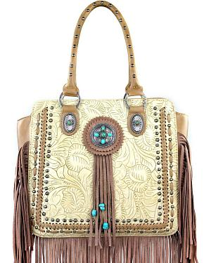 Montana West Trinity Ranch Collection Tooled Fringe Handbag