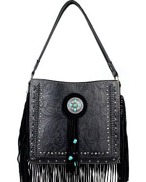 Montana West Trinity Ranch Collection Tooled Fringe Shoulder Bag