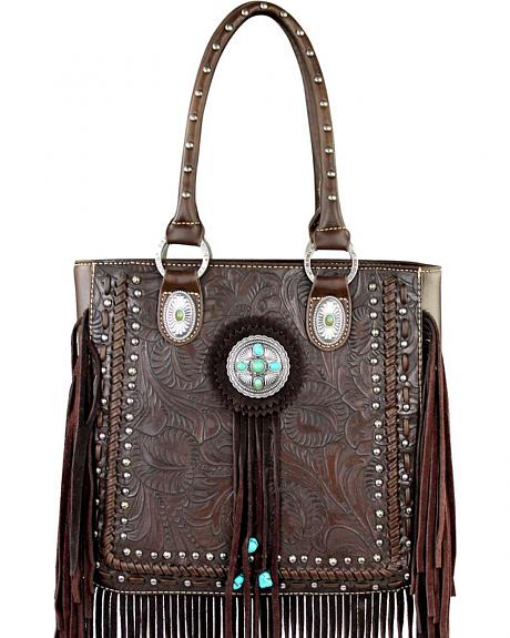 Montana West Trinity Ranch Collection Tooled Fringe Tote