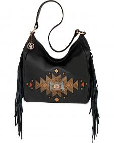 American West Dream Catcher Brown Slouch Fringe Zip Top Shoulder Bag