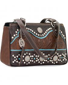 American West Hayloft Collection Three Compartment Zip Top Tote Bag