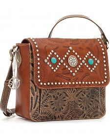 American West Love Me Tender Turquoise Concho Flap Bag