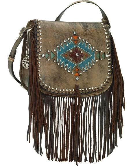 American West Pueblo Moon Fringe Crossbody Flap Bag