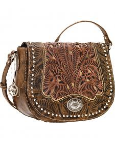 American West Rosewood Collection Saddle Flap Crossbody Bag
