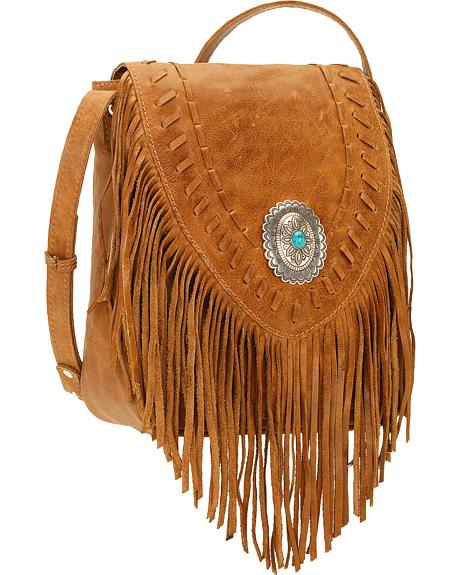 American West Seminole Collection Soft Fringe Crossbody Bag
