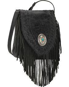 American West Seminole Collection Soft Fringe Crossbody Bag