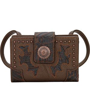 American West Bandana Game Girl Organized Embossed Cut-Out Crossbody