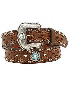 "Ariat Women's 1 1/2"" Diamond Concho Turquoise Stone Belt"