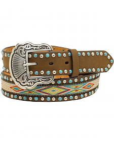 "Nocona Women's 1 1/2"" Ribbon Inlay Turquoise Stone Belt"