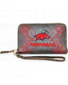 Gameday Boots University of Arkansas Leather Wristlet