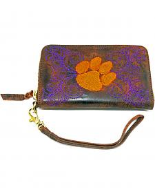 Gameday Boots Clemson University Leather Wristlet