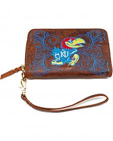 Gameday Boots University of Kansas Leather Wristlet