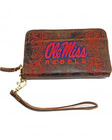 Gameday Boots University of Mississippi Leather Wristlet