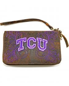 Gameday Boots Texas Christian University Leather Wristlet