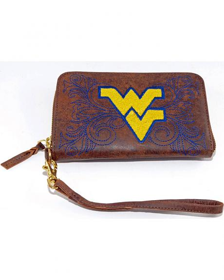 Gameday Boots West Virginia University Leather Wristlet