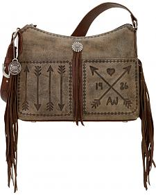 American West Cross My Heart Rustic Brown Zip Top Shoulder Bag